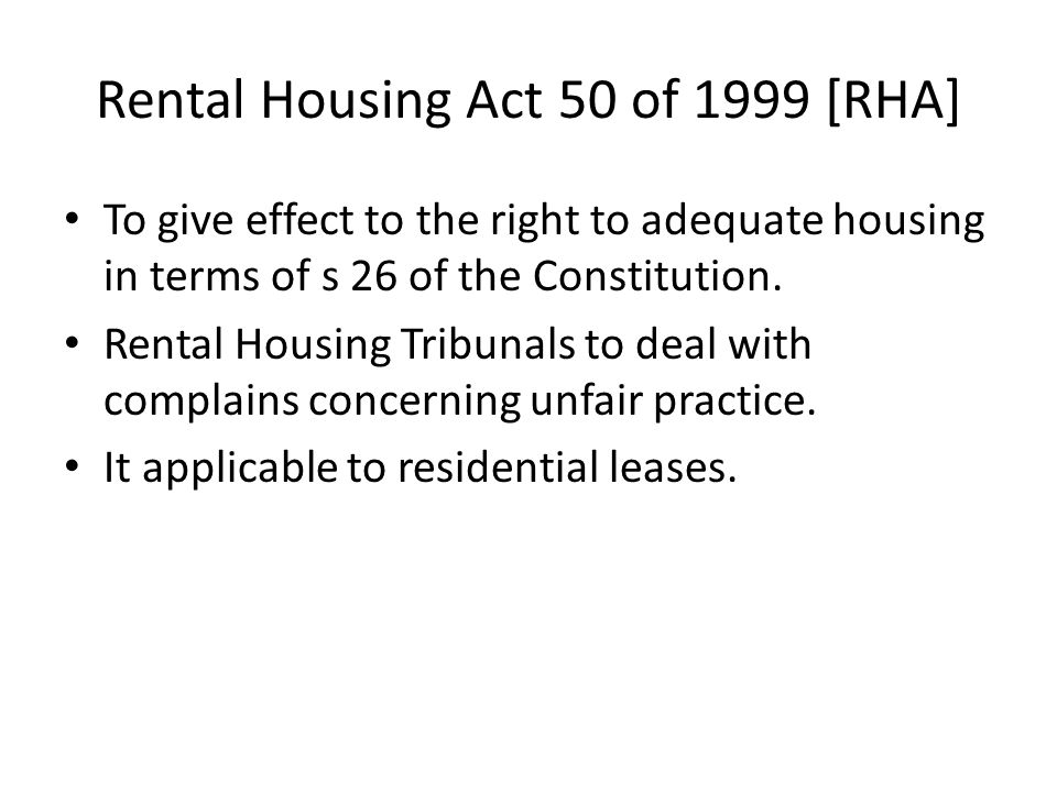 Rental Housing Act 50 of 1999 [RHA]
